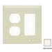 Hubbell Wiring NP826LA Homeselect™ 2-Gang Standard-Size Combination Wallplate; Screw Mount, Nylon, Light Almond