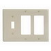 Hubbell Wiring NP1262I Homeselect™ 3-Gang Standard-Size Combination Wallplate; Screw Mount, Nylon, Ivory