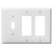 Hubbell Wiring NP1262W Homeselect™ 3-Gang Standard-Size Combination Wallplate; Screw Mount, Nylon, White