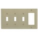 Hubbell Wiring NP326I Homeselect™ 4-Gang Standard-Size Combination Wallplate; Screw Mount, Nylon, Ivory