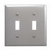 Hubbell Wiring SS2 2-Gang Standard-Size Toggle Switch Wallplate; Screw Mount, 302/304 Stainless Steel, Satin