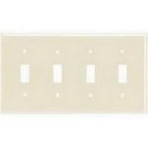 Hubbell Wiring NP4LA 4-Gang Standard-Size Toggle Switch Wallplate; Screw Mount, Nylon, Light Almond
