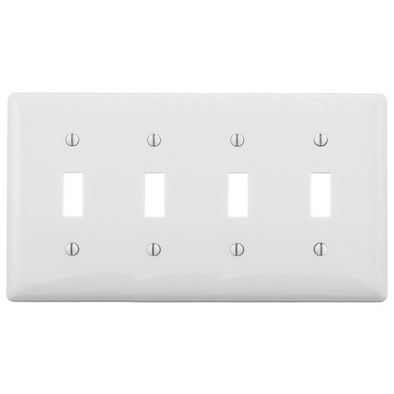 Hubbell Wiring NP4W 4 Gang Standard-Size Toggle Switch Wallplate; Screw Mount, Nylon, White