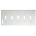 Hubbell Wiring NP5W 5-Gang Standard-Size Toggle Switch Wallplate; Screw Mount, Nylon, White