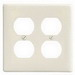 Hubbell Wiring NP82I 2-Gang Standard-Size Duplex Receptacle Wallplate; Screw Mount, Nylon, Ivory