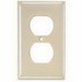 Hubbell Wiring NP82LA 2-Gang Standard-Size Duplex Receptacle Wallplate; Screw Mount, Nylon, Light Almond