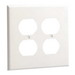 Hubbell Wiring NP82W 2-Gang Standard-Size Duplex Receptacle Wallplate; Screw Mount, Nylon, White