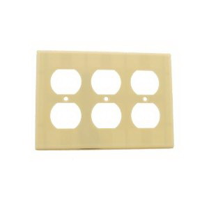 Hubbell Wiring NP83I 3-Gang Duplex Receptacle Wallplate; Screw Mount, Nylon, Ivory
