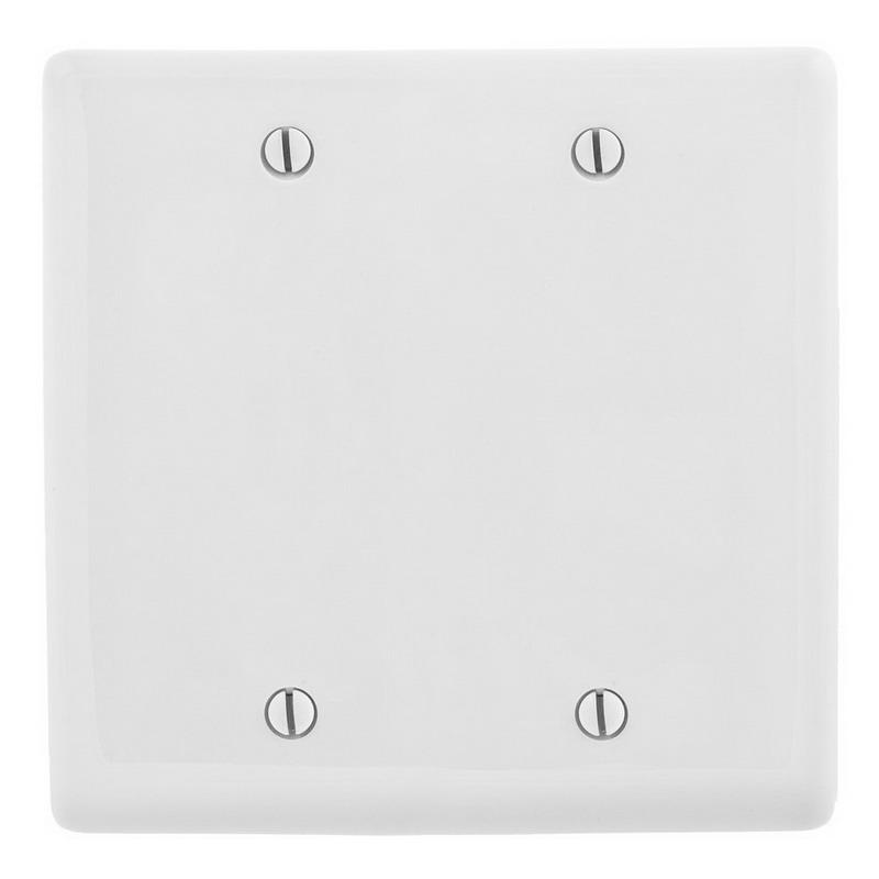 Hubbell Wiring NP23W 2-Gang Standard-Size Wallplate; Box Mount, Nylon, White