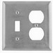 Hubbell Wiring SS18 Homeselect™ 2-Gang Standard-Size Combination Wallplate; Screw Mount, 302/304 Stainless Steel, Satin