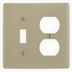 Hubbell Wiring NP18I Homeselect™ 2-Gang Standard-Size Combination Wallplate; Screw Mount, Nylon, Ivory