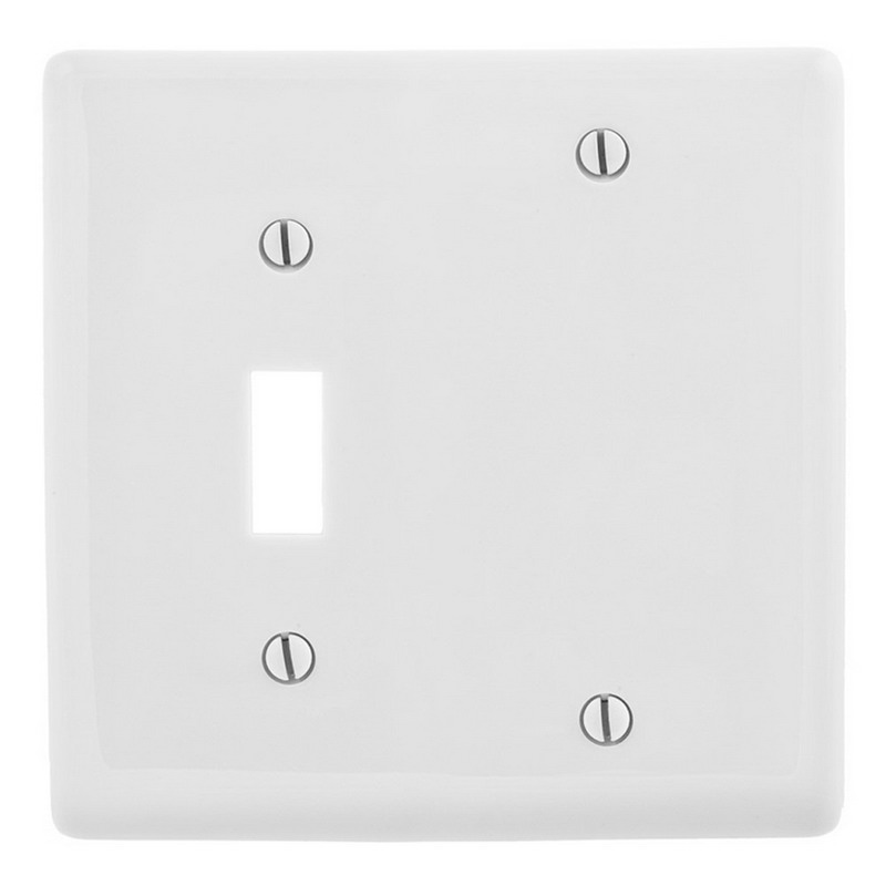 Hubbell Wiring NP113W Homeselect™ 2-Gang Standard-Size Combination Wallplate; Box Mount, Nylon, White
