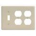 Hubbell Wiring NP182I Homeselect™ 3-Gang Standard-Size Combination Wallplate; Screw Mount, Nylon, Ivory