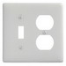 Hubbell Wiring NP18W Homeselect™ 2-Gang Standard-Size Combination Wallplate; Screw Mount, Nylon, White