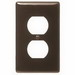 Hubbell Wiring NP8 1-Gang Standard-Size Duplex Receptacle Wallplate; Screw Mount, Nylon, Brown
