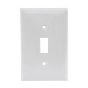 Hubbell Wiring NPJ1W 1-Gang Midway-Size Toggle Switch Wallplate; Screw Mount, Nylon, White