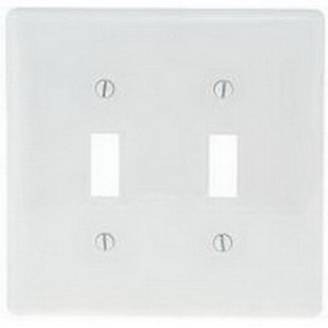 Hubbell Wiring NPJ2W 2-Gang Midway-Size Toggle Switch Wallplate; Screw Mount, Nylon, White
