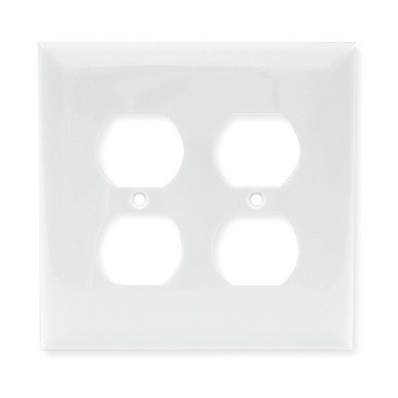 Hubbell Wiring NPJ82W 2-Gang Midway-Size Duplex Wallplate; Screw Mount, Nylon, White