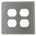Hubbell Wiring SSJ82 2-Gang Midway-Size Duplex Wallplate; Screw Mount, Stainless Steel, Silver