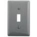 Hubbell Wiring NP1GY 1-Gang Standard-Size Toggle Switch Wallplate; Screw Mount, Nylon, Gray