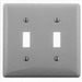 Hubbell Wiring NP2GY 2-Gang Standard-Size Toggle Switch Wallplate; Screw Mount, Nylon, Gray
