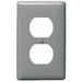 Hubbell Wiring NP8GY 1-Gang Standard-Size Duplex Receptacle Wallplate; Screw Mount, Nylon, Gray