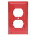 Hubbell Wiring NP8R 1-Gang Standard-Size Duplex Receptacle Wallplate; Screw Mount, Nylon, Red