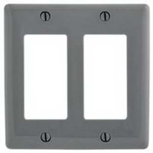 Hubbell Wiring NP262GY Netselect® tradeSELECT® 2-Gang Standard-Size GFCI Decorator Face Plate; Screw Mount, Nylon, Gray