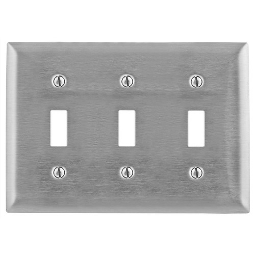 Hubbell Wiring SS3 3-Gang Standard-Size Toggle Switch Wallplate; Screw Mount, 302/304 Stainless Steel, Satin