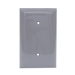 Hubbell Wiring NP14GY 1-Gang Standard-Size Blank Wallplate; Strap Mount, Nylon, Gray