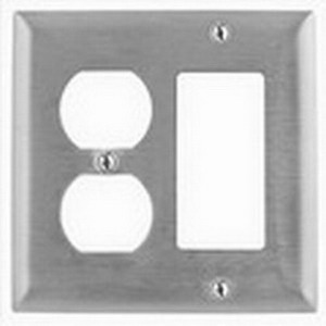 Hubbell Wiring SS826 Homeselect™ 2-Gang Standard-Size Combination Wallplate; Screw Mount, 302/304 Stainless Steel, Satin