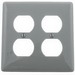 Hubbell Wiring NP82GY 2-Gang Standard-Size Duplex Receptacle Wallplate; Screw Mount, Nylon, Gray
