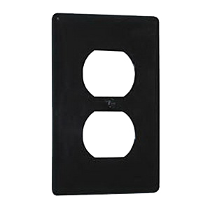 Hubbell Wiring NP8BK 1-Gang Standard-Size Duplex Receptacle Wallplate; Screw Mount, Nylon, Black