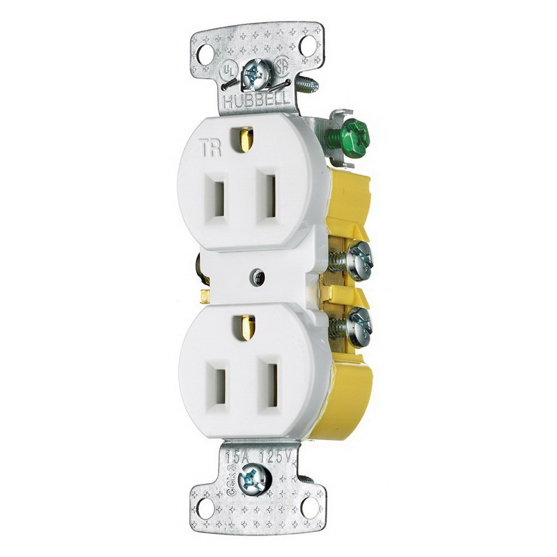 hubbell wiring rr15swtr tradeselect® tamper resistant double pole hubbell wiring rr15swtr tradeselect® tamper resistant double pole straight blade duplex receptacle screw mount 125 volt 15 amp white