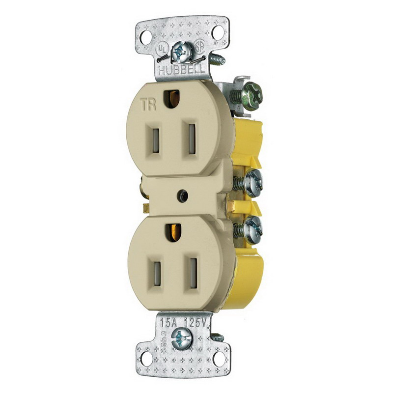 hubbell wiring rr15sitr tradeselect® tamper resistant double pole hubbell wiring rr15sitr tradeselect® tamper resistant double pole straight blade duplex receptacle screw mount 125 volt 15 amp ivory