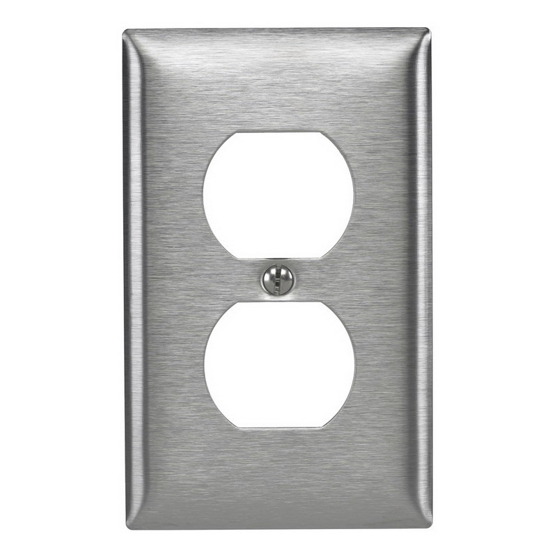 Hubbell Wiring SS8L 1-Gang Standard-Size Duplex Receptacle Wallplate; Screw Mount, Stainless Steel, Silver