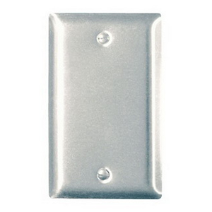 Hubbell Wiring SS13L 1-Gang Standard-Size Blank Wallplate; Box Mount, 430 Stainless Steel, Silver