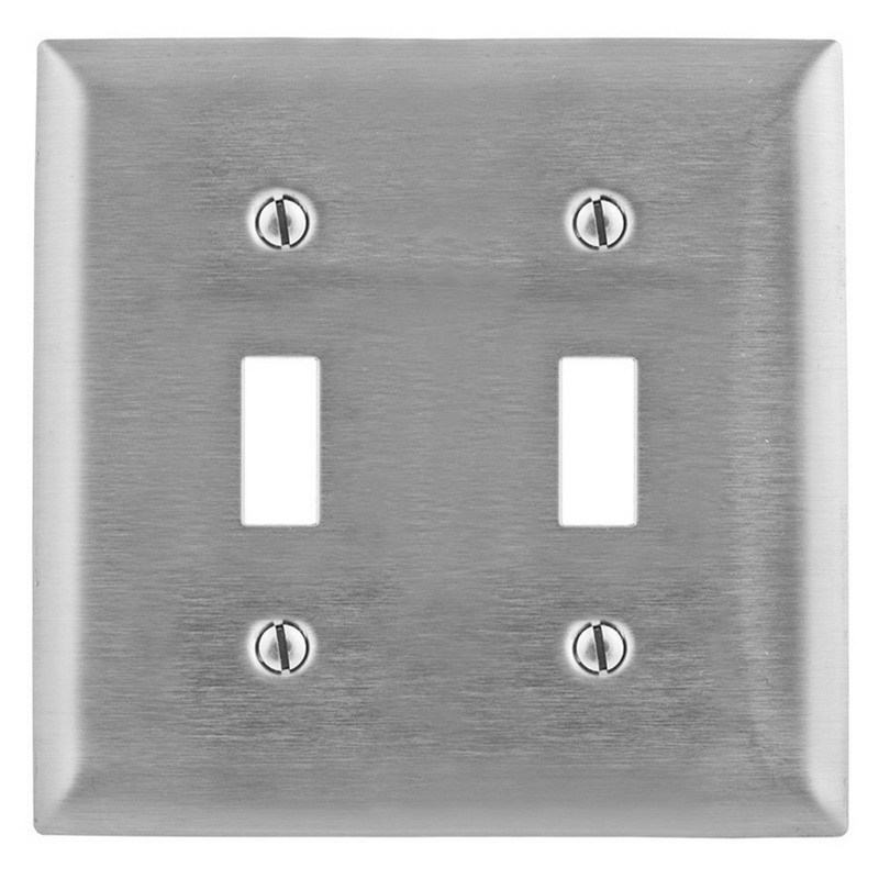 Hubbell Wiring SS2L 2-Gang Standard-Size Toggle Switch Wallplate; Screw Mount, Stainless Steel, Silver