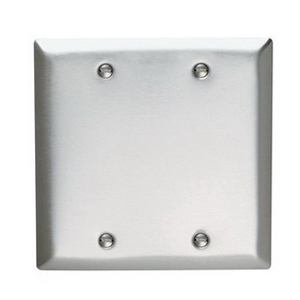Hubbell Wiring SS23L 2-Gang Standard-Size Blank Wallplate; Box Mount, 304/302 Stainless Steel, Silver