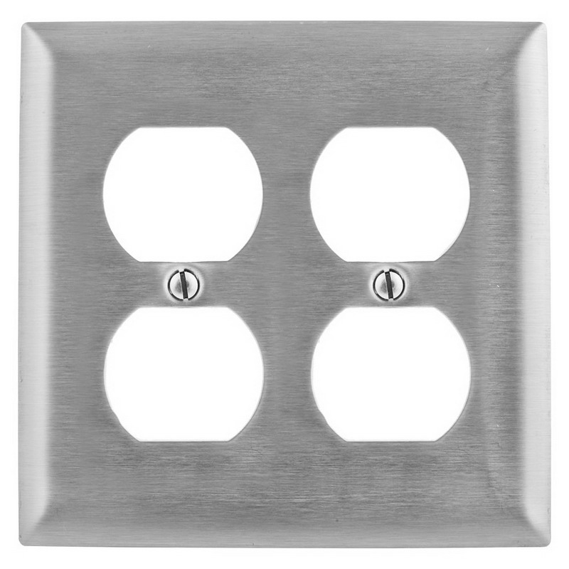 Hubbell Wiring SS82L 2-Gang Standard-Size Duplex Receptacle Emergency Wallplate; Screw Mount, Stainless Steel, Silver
