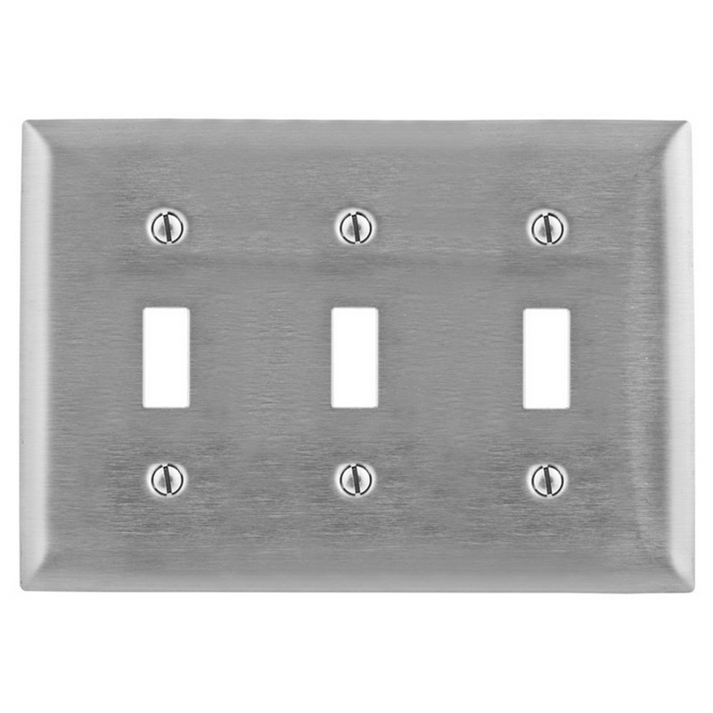 Hubbell Wiring SS3L 3-Gang Standard-Size Toggle Switch Wallplate; Screw Mount, Stainless Steel, Silver