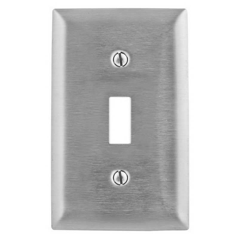 Hubbell Wiring SS1L 1-Gang Standard-Size Toggle Switch Wallplate; Screw Mount, Stainless Steel, Silver