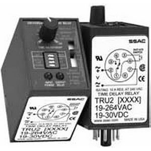 ABB TRU2 Universal Time Delay Relay; 19 - 264 Volt AC, 19 - 30 Volt DC, 8 Pin, SPDT, 6 Functions: 0.1 - 10, 1 - 100 or 10 - 1000 sec, 0.1 - 10, 1 - 100 or 10 - 1000 min Timing Range