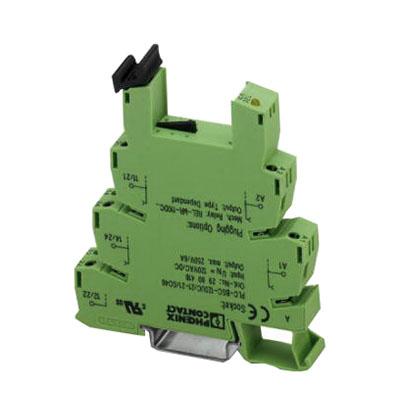 Phoenix 2967015 Relay Socket; 24 Volt DC, 2 Pole, DPDT, NS 35/7.5 DIN Rail Mount