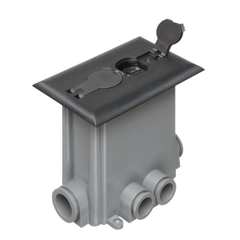 Arlington FLBCF101BL Non-Metallic Rectangular Floor Box Kit; 6.199 Inch Depth, Black