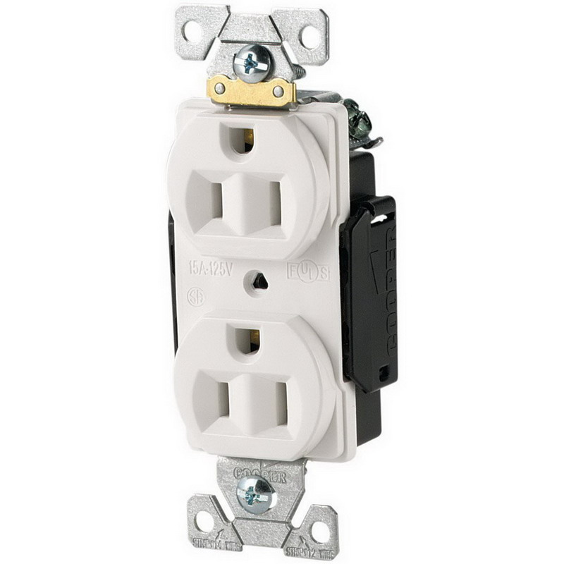 Cooper Wiring 5252W ArrowHart Straight Blade Duplex Receptacle 125 Volt  15 Amp  2 Pole  3 Wire  Wall Mount  White