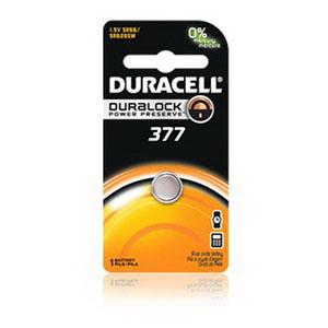 Duracell D377BPK Button Cell Battery; 1.5 Volt, 28 Milli-Amp-Hour