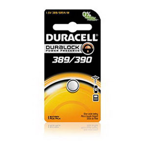 Duracell D389/390PK Button Cell Battery; 1.5 Volt, 80 Milli-Amp-Hour