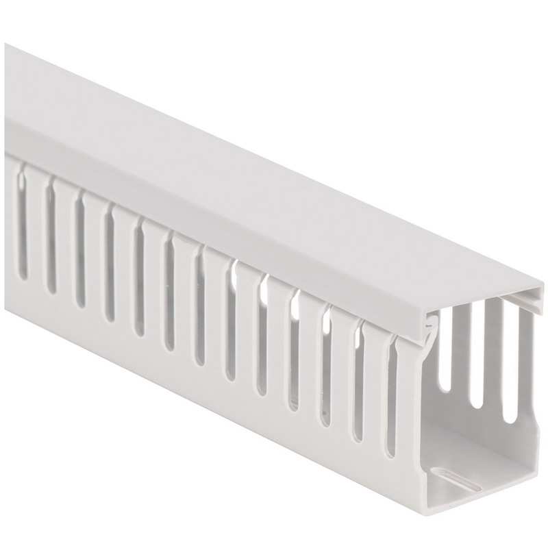 Thomas & Betts T3X3TW Open Slot Standard Wiring Duct; 3 Inch x 3 Inch, Vinyl, White