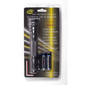 Ebinger LED12 12-LED Flashlight; AA Alkaline, Titanium